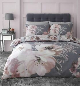 Catherine Lansfield Grey Dramatic Floral Oriental Inspired Duvet Cover Set