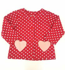H M Girls Red Cardigan Sweater w/ Pink Polka Dots Heart Pockets 6-9 Months