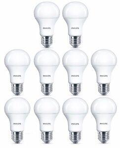 10x Philips 5.5W = 40W CorePro LED GLS A60 ES / E27 Warm White 2700k Opal Bulb