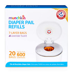 Munchkin Arm and Hammer Diaper Pail Snap Seal And Toss Refill Bags 600 Count New