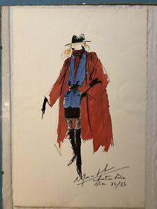 C DIOR - Dessin signée - Original. Haute Couture Hiver 82/83 Par Marc Bohan.