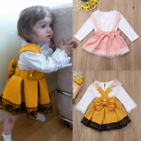 Newborn Baby Girl Princess Dress Outfit Set Kid Lace Romper Tops+Skirt Clothes B