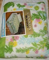 Vintage Cannon Blanket 72x90 Lock Nap 70's Multicolor Fantasia Floral