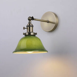 Vintage Industrial Wall Light with Green Glass Lamp Shade - Gaming Billiards