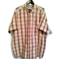 Columbia Mens Sz XXL Shirt Orange Plaid Cotton Short Sleeve Button Front Shirt