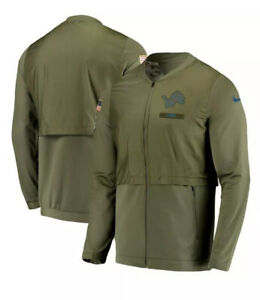 NWT DETROIT LIONS Nike Salute to Service Long Sleeve jacket Olive Green Large