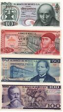 UNCIRCULATED MEXICO SET OF 4 BANKNOTES LOT 70'S 80'S 10 20 50 100 pesos UNC #8