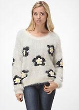 LeSHOP Boutique Clothing Crochet Flower Patch Knit Fluffy Sweater