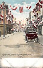 c.1905 Stores with Home Week Decorations Thames St. Newport RI post card