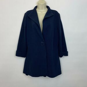 Luii Anthropologie Large Jacket navy blue textured open front casual