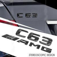 C63 AMG W204 Emblem Glänzend schwarz Zeichen aufkleber Schriftzug Mercedes Benz