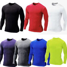 Compression Mens Long Sleeves Top T Shirt Base Layer Thermal Sport Gym Fitness
