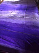 Large Moroccan Hand Woven Striped Sabra Silk / Chenille Throw Blanket Purple