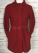Cynthia Rowley Ruffled Coat Hidden Buttons Flower Braid Trim Thin 100% Wool Sz M