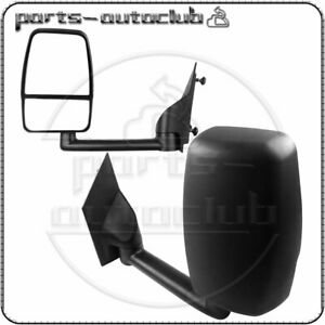 Left+Right Black Smooth Towing Manual Mirrors For 2003-17 Chevy Express Savana