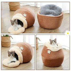 3in1 Pet bed Dog Soft Nest Kennel Cat Bed House Pot Shaped Cave  Mat Pad Tent