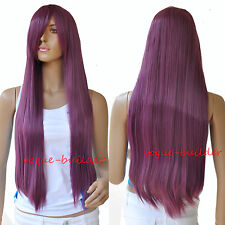 75cm 30 inch High-Heat Resistent Long Red Purple Straight Cosplay Party Hair Wig