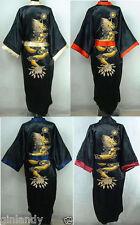 Double-Face chinesischen Seide Herren Kimono Robe Kleid Bademantel Kleid M-XXL