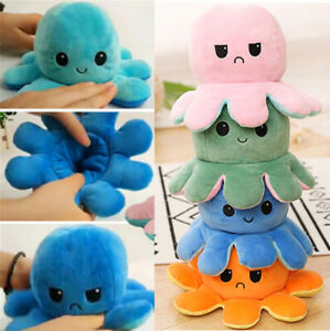 Sea life, Double-sided Plush Octopus Toy for Children 2,3,4,5,6 Years Old Emotio