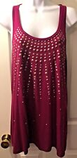 New Women's VELVET Graham & Spencer Tunic Top Shirt Magenta Tank Studded Sz M