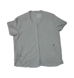 Figs Technical Collection Scrub Top XL Gray Pleated Zipper Pockets Mens? Womens?