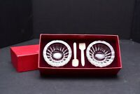 Exquisite BACCARAT MASSENA Crystal Salt Dip Caviar Cellars W SPOONS IN BOX VTG