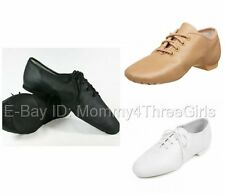 NEW Capezio or Balera Black Tan White Lace up Leather Split Sole Jazz Shoes