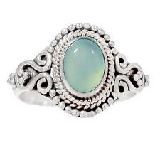 Aqua Chalcedony 925 Silver Ring Jewelry s.7 AQCR459