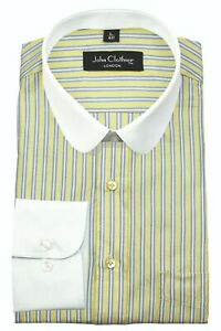Men's Penny Collar Barrel Cuff Peaky Blinders Yellow White Stripes Shirt Shelby