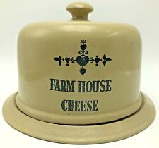 Vintage Moira Pottery England Crock Farm House Cheese Tray Dome Lid Tan Brown
