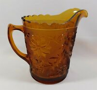 Indiana Glass Amber Daisy Tiara Sandwich Large Pitcher 8""