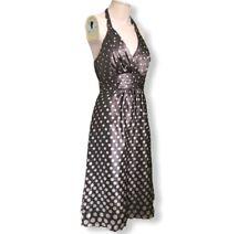 Monsoon Size 10 100% Silk Taupe Spot Dress Halterneck - Wedding Races Cruise