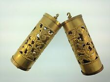Fancy Perorated Embossed Vienna Clock Weight Shells set of 2 Solid Brass
