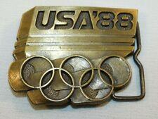Vintage Brass Usa Olympics 1988 Belt Buckle