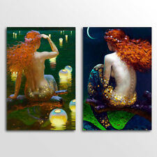 Unframed Home  Decor Canvas 2 Panels Wall Art Mermaid Wall Art Canvas Prints