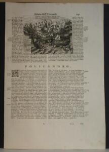 HAGIA PELAGIA GREECE 1690 CORONELLI UNUSUAL ANTIQUE ORIGINAL NAVAL BATTLE VIEW