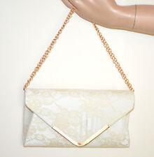 BOLSO CLUTCH bag pochette mujer CREMA encaje bordado elegante cadena dorada G55