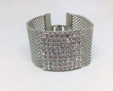 Formal Wedding Clear Cubic Zirconia Mesh Wristband Bracelet