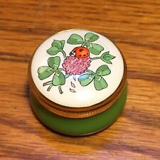 Crummles Brass Enamel Pillbox, Ladybug on Clover Flower, Made in England