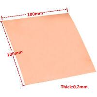 1PC 99.9% Pure Copper Cu Metal Sheet Foil Plate 0.2mm*100mm*100mm