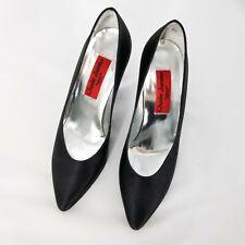 "CHARLES JOURDAN Vintage ""1921"" Pumps High Heel Black Satin Paris Sz 6.5M Shoes"