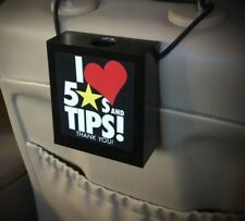 Rideshare Driver's Tip Box Gratuity Box  with Love 5 stars & Tips Signage