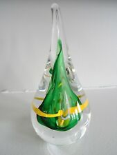 "SIGNED AJ Adam Jablonski 5.5"" Tall Art Glass TEARDROP PAPERWEIGHT Poland Green"