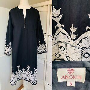 Anokhi Black & White Kaftan Dress Size S Floral Embroidered Vintage