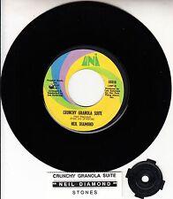 "NEIL DIAMOND Crunchy Granola Suite & Stones 7"" 45 record + juke box title strip"