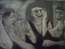 "RICHARD JOSEPH ERICSON ""THREE LADIES"" ETCHING PENCIL SIGNED LR CA 1960 SILVER FR"