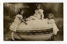 c 1910 Children Kids Child GIRLS w/ GIANT EGG Easter photo postcard