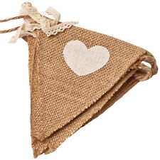 Vintage Heart Jute Burlap Hessian Bunting Shabby Wedding Party Venue Banner New