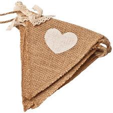 Vintage Heart Jute Burlap Hessian Bunting Shabby Wedding Party Venue Banner^