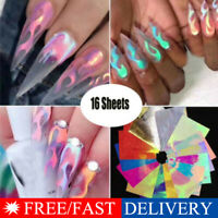 16Pcs Holographic Fire Flame Hollow Sticker Fire Nail Art Manicure Sticker USA